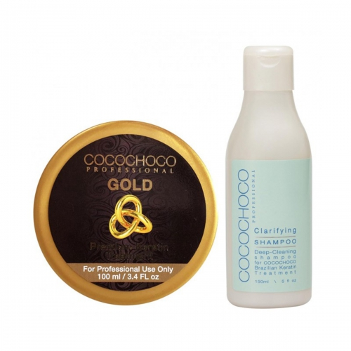 Gold SET Brazilian Keratin 100ml + Clarifying Shampoo 150ml COCOCHOCO