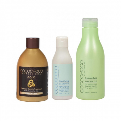 Gold COCOCHOCO Brazilian Keratin 250ml + Clarifying Shampoo 150ml + Sulphate-Free Shampoo 400ml