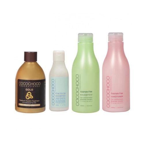 Gold Brazilian Keratin Set  250ml + Clarifying Shampoo 150ml + Sulphate-Free Shampoo 400ml + Professional Conditioner 400ml COCOCHOCO