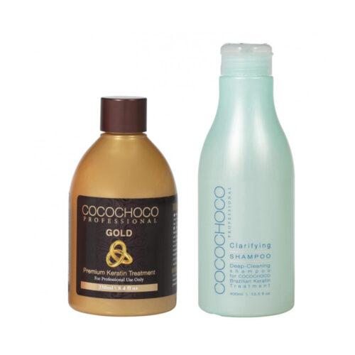 Gold Brazilian Keratin 250ml + Clarifying Shampoo 400ml COCOCHOCO