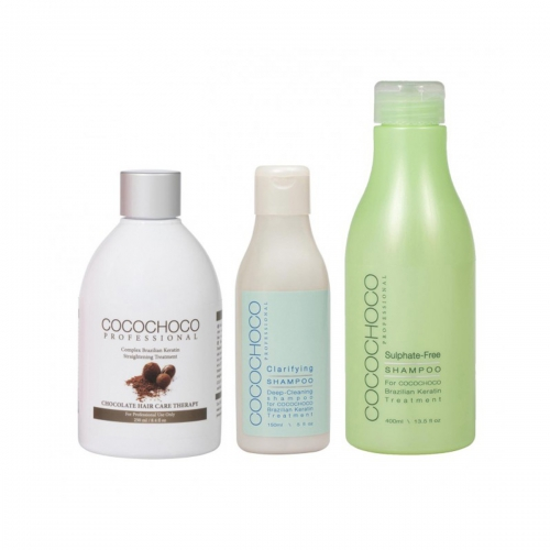 COCOCHOCO SET Original Brazilian Keratine 250ml + Clarifying Shampoo 150ml + Sulphate-Free Shampoo 400ml