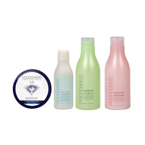 Pure Brazilian Keratin 100ml + Clarifying Shampoo 150ml + Sulphate-Free Shampoo 400ml + Professional Conditioner 400ml COCOCHOCO