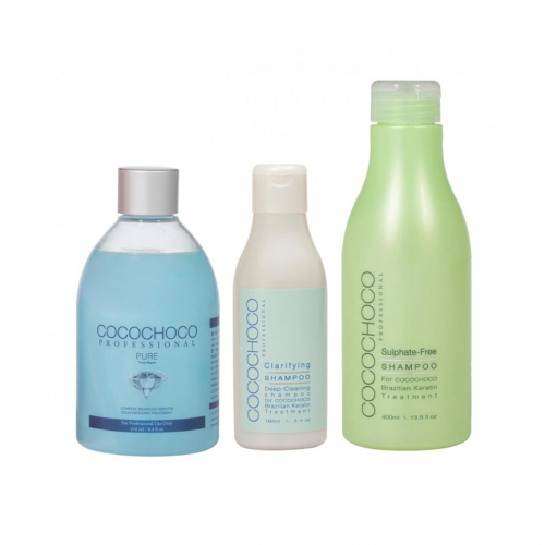 Pure Brazilian Keratin 250ml + Clarifying Shampoo 150ml + Sulphate-Free Shampoo 400ml COCOCHOCO