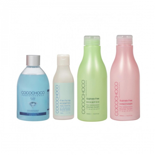 Pure Brazilian Keratin 250ml + Clarifying Shampoo 150ml + Sulphate-Free Shampoo 400ml + Professional Conditioner 400ml COCOCHOCO