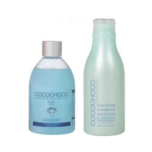 SET Pure Brazilian Keratin 250ml + Clarifying Shampoo 400ml COCOCHOCO