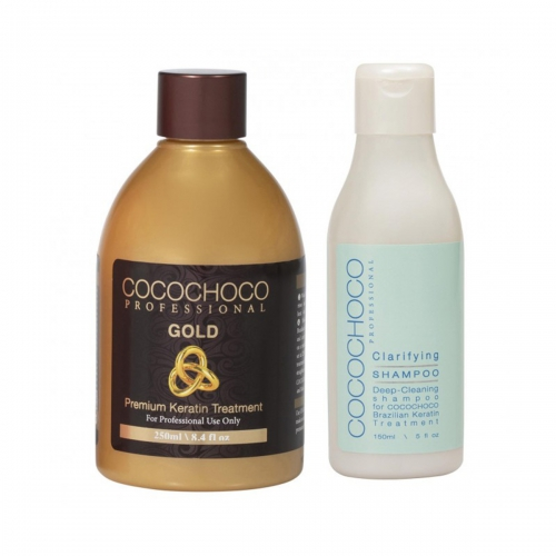 Gold Brazilian Keratin 250ml + Clarifying Shampoo 150ml