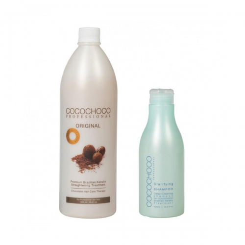 Original Brazilian Keratin 1000ml + Clarifying Shampoo 400ml COCOCHOCO