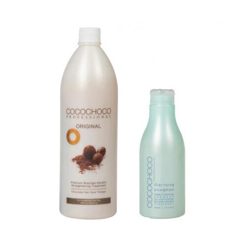 Original Brazilian Keratin 1000ml + Clarifying Shampoo 400ml COCOCHOCO